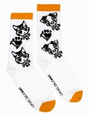 Chaussettes Fantaisies Blanches avec les Motifs Animal Chiens et Chats Cruel Dilemme - 100% Made in France