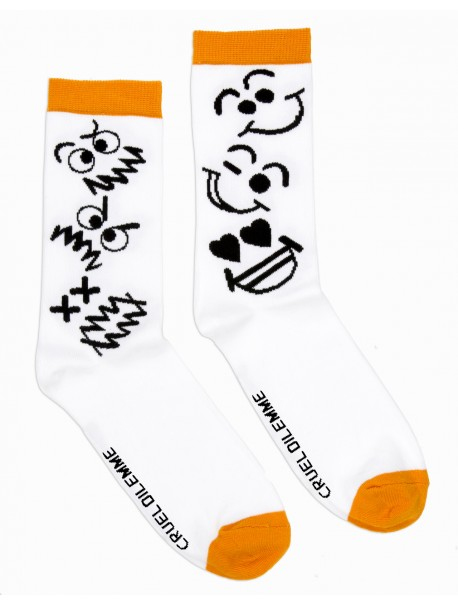 Chaussettes Fantaisies Blanches avec les Motifs Moods Cruel Dilemme - 100% Made in France